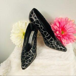 VIA SPIGA Black & Gray Print Heels